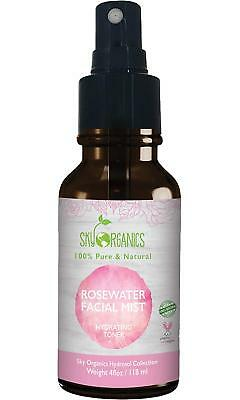 Organic Rose Water Toner By 4oz-100% Pure, Distilled Rosewater For Face Hair-