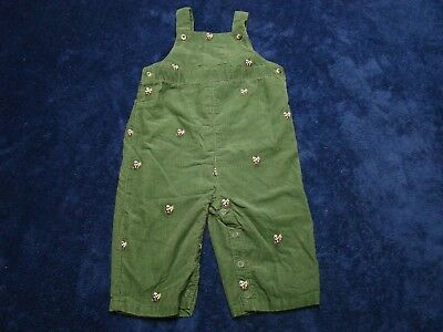 JANIE AND JACK Boys Green Corduroy Long Alls Overalls Pandas Size 3-6 Months