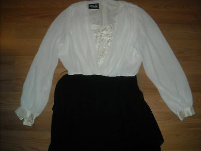 Vtg 80S Womens 14 Small Upuffy Sleeve Black White Tiered Ursula Dress Usa