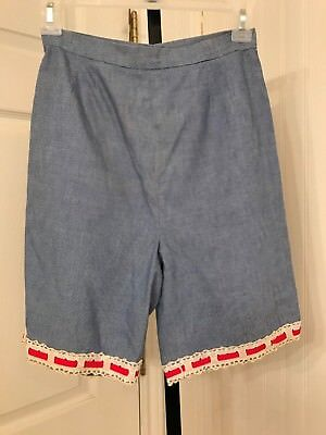 vintage 1950's 1960's womens shorts, denim with red ribbon through lace trim