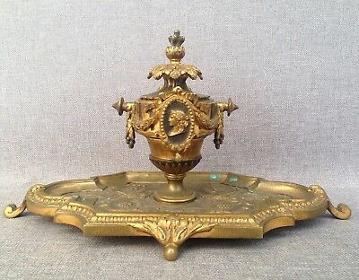 Antique Napoleon III french inkwell made of bronze 19th century medallions god