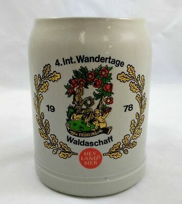 Vintage 1978 German Beer Mug Stein 4. Int. Wandertage Waldaschaff Hey Lands Bier