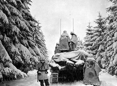 WWII Photo US Army M4 Sherman in Snow Battle of Bulge WW2 World War Two Ardennes