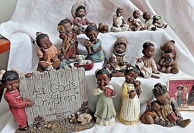 All God's Children Figurines Lot of 16, African American, Martha Holcombe NIB
