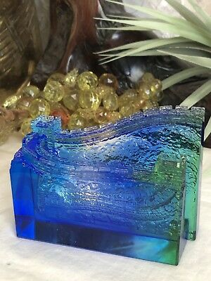 Stunning Vintage Murano Cobalt Blue & Green Art Glass Business Card Holder