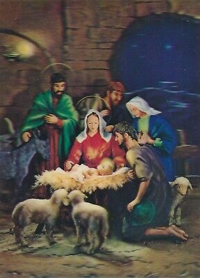 Vintage 3D Lenticular Postcard Nativity Scene Mary, Joseph Baby Jesus Manager