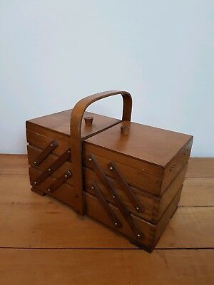 Vintage Wooden Polish Cantilever Sewing Box