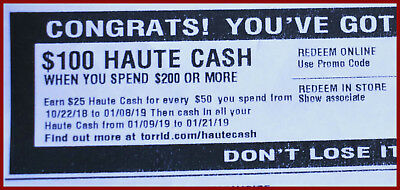 Haute Cash TORRID CODES $100 off $200 LIMITED TIME from 01/09/19 to 01/21/19