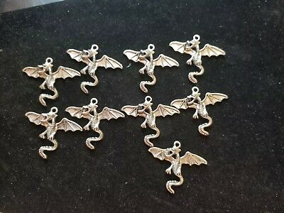 Lot 9pcs Antique Silver Flying Dragon Charms