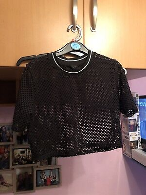 Topshop Fishnet Mesh Crop Top Size 10