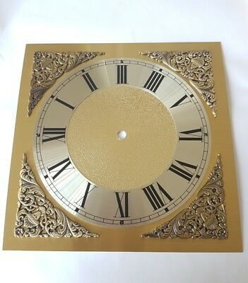 Square Clock Dial Brass with Silver Chapter Ring 250mm Dia Minute Circle 197mm