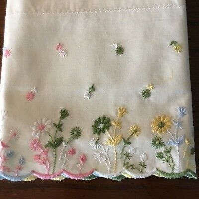 Pair of Vintage Satin Stitch Embroidered Pillowcases Pretty Pastel Flowers