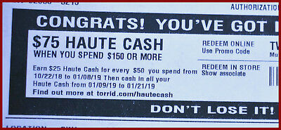 Haute Cash TORRID CODES $75 off $150 LIMITED TIME from 01/09/19 to 01/21/19