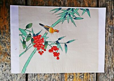Japanese Painting on Silk Fabric of a Bird on a Branch Art Oriental Bamboo