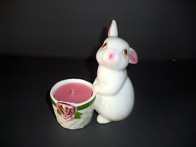 Avon Ceramic Easter Bunny Rabbit Candle Holder Vintage 1980  w/ Pink candle