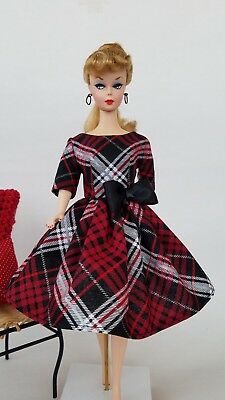 Handmade Vintage Barbie Doll Clothes by Brenda - Plaid Dress