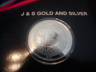Bitcoin .999 Fine In Code We Trust 1 Troy Ounce Silver  Btc Digital Currency J&s