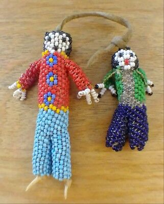 Zuni Kachina Doll Woman and Child Seed Bead Vintage Native American Colorful