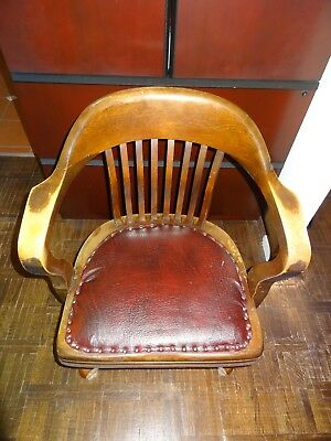 Antique American? English? Carved Oak Desk Chair U.S. Govt leather seat brass