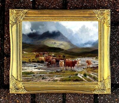 Fine Oleograph on Canvas of Highland Cattle by Loch Awe aft. Louis Bosworth Hurt