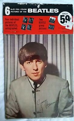 Beatles Memorabilia 1960s 8 x 10 Full Color Pictures Sealed in Package!