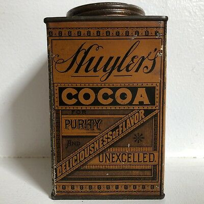 Huylers Cocoa Tin Embossed Lid Vtg Pie Safe Antique Farmhouse Decor #1