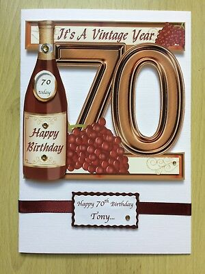 Luxury Hand Made Male 70th Birthday Card Can Be Personalised