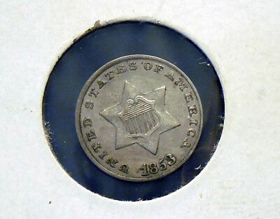 1853 3CS Three Cent Silver XF