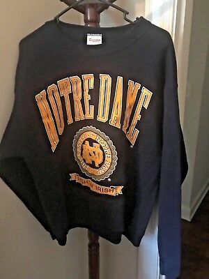 VINTAGE Notre Dame Fighting Irish Football SWEATSHIRT Navy