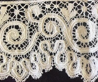 Antique Cream French Brussels Lace Trim Ornate 1890's Floral Net Almost 4 YDS
