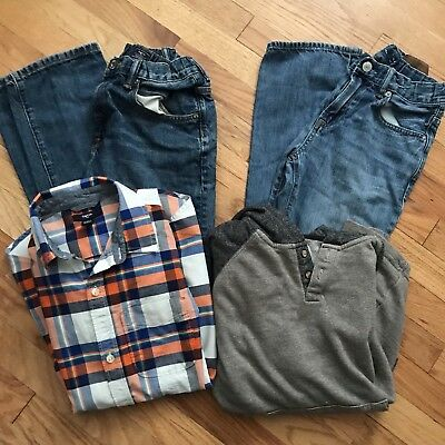 Lot Boys Size 16 Adjustable Waist Gap Jeans Button Shirt Lucky Brand Pullover