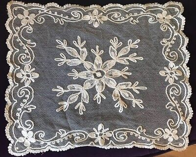 Antique Lace Doily French Tambour Lace Cotton Netting Floral Needlework Cream