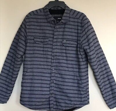 7837aa0233d5 Hurley *Black And Slate Gray Sherpa Lined Button Up Jacket Mens Large