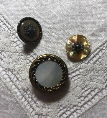 Vintage 3 Mother Of Pearl Metal Shell MOP Buttons 104-2