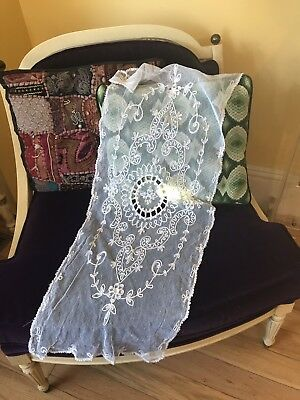 Antique French Tambour Net Lace Table Runner Floral Needlework Cream 36""