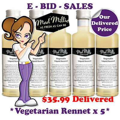 Liquid Rennet Vegetarian For CHEESE MAKING By Mad Millie x 5 Pack @ $35.99 * Del