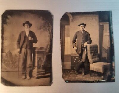 Two Tintypes - Men with Hats 1800's
