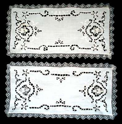 "Vintage Hand Embroidered/Crochet Linen 2 White Rectangular 11"" x 5.5"" Doilies"