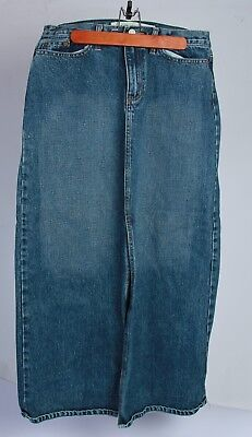 GAP Womens Blue Jean Denim SKIRT Size 10 Modest Modesty Long
