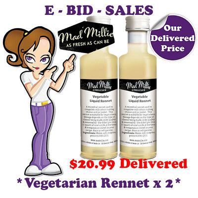 Liquid Rennet Vegetarian For CHEESE MAKING By Mad Millie x 2 Pack @ $20.99 * Del