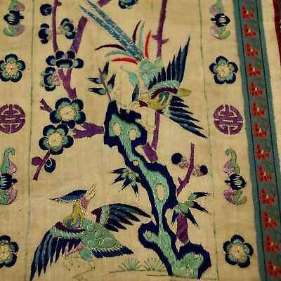 Chinese silk embroidery antique panel, Variety of Birds, Qing to Early Republic