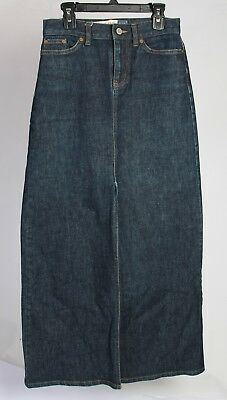 GAP Womens Dark Blue Jean Denim SKIRT Size 0 Modest Modesty Long
