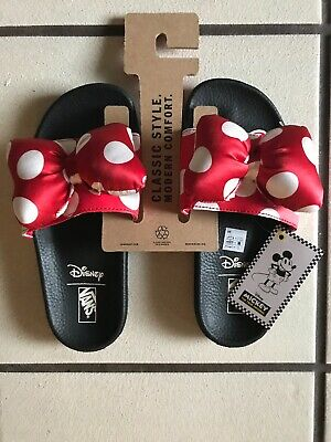 Vans x Disney Minnie Mouse Size 6 Slide On Puffy Bow Slippers NWT Polka Dots bf43612b6