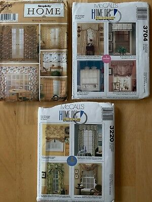 Lot of 3 Simplicity, McCalls Home decorating valance, curtain, drapery patterns