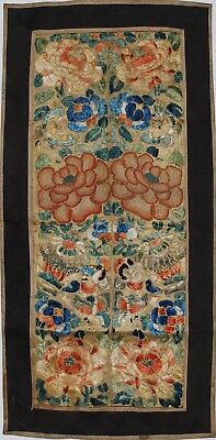 Chinese Antique embroidered forbidden stitch flowers Qing, Estate collection