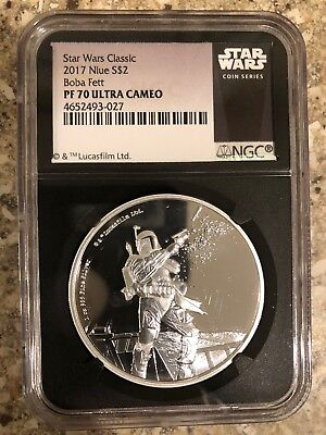 2017 Niue Star Wars Boba Fett Ngc Black Holder Pf70 1 Ounce Silver Coin