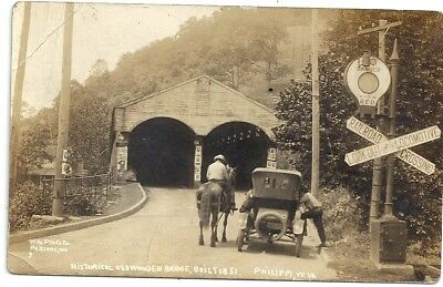 Philippi, Wv: Rppc: 11920: Man On Horse By Covered Bridge: Built 1851