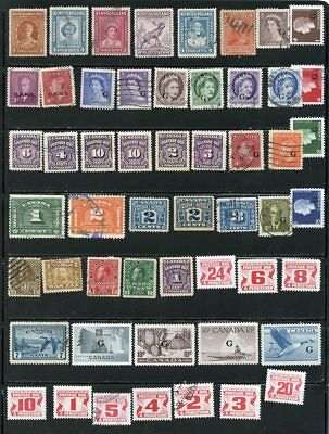 Canada Lot Of Old Used Stamps, Postage Due, G Overprint And More, Few Mint