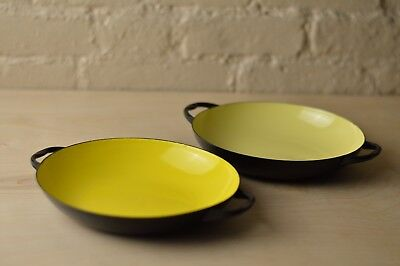 "Pair of 8"" vintage Mid-Century French enamel pan Yellow nesting"