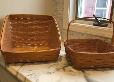 Longaberger TWO Regular Line Classic Baskets Book Keeper Pie Includes Protectors